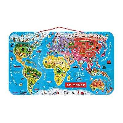 Janod - Puzzle Carte du Monde Magnétique en Bois - 92 Pièces Aimantées - 70 x 43 cm - Version Française - Jeu éducatif dès 7 ans, J05500