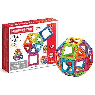 Magformers Basic 30pcs Set - Jeu de Construction magnétique pour Enfant - Jeu éducatif de Formes Multicolores aimantées - 30 pcs - à partir de 3 Ans