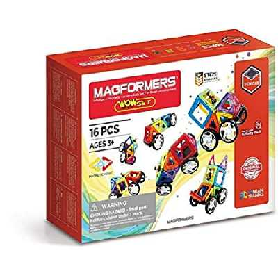 Magformers WOW Set - Jeu de Construction magnétique pour Enfant - Jeu éducatif constitué de Formes multicoleres aimantées avec Roues - 16pcs - à partir de 3 Ans