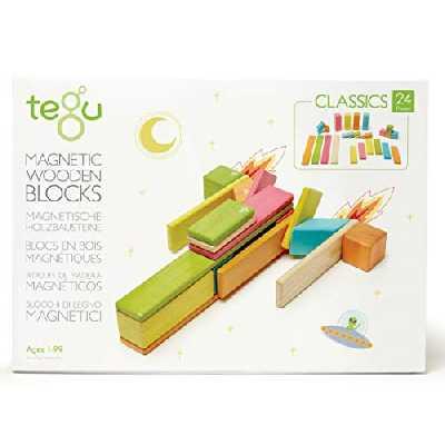 Tegu Jeu de Construction - Blocs de bois Magnétiques - 24 pièces - Couleurs