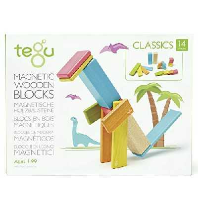 Tegu : Classic 14 Pièces - Tints - Asmokids - Jeu de construction - Jeu en bois magnétique