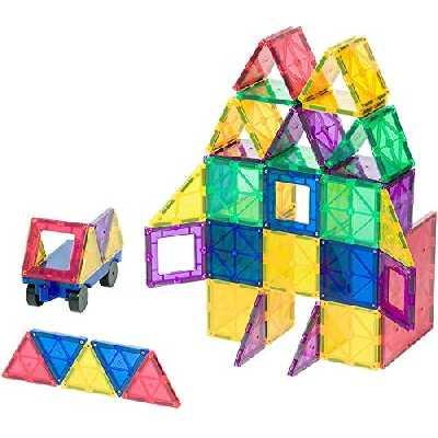 Playmags Carreaux magnétiques de couleurs claires primés Ensemble de construction 50 + 6 pièces avec voiture - STEM Jouets magnétiques développent la motricité et la créativité, construction d'aimants colorés et durables