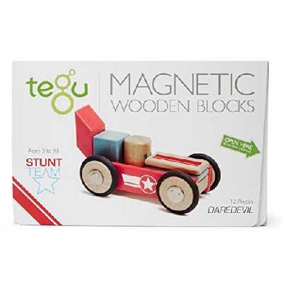 Tegu Jeu de Construction - Équipe de cascadeurs Daredevil - Blocs de bois Magnétiques - 12 pièces