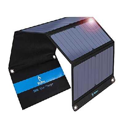 28W Panneau Solaire Pliable avec Ampèremètre Numérique, BigBlue Chargeur Solaire Portable avec 2 Ports USB pour iPhone X /8 /8 Plus /7 /7 Plus /6 /6 Plus /SE /5S, iPad Air 2 /mini 3, Samsung Galaxy A5 /S6 /S7 /J7 /J5 /J3 et Huawei