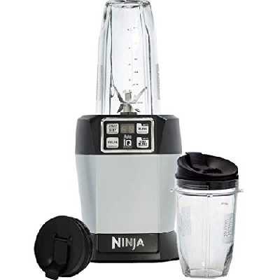 Ninja Nutri Ninja Blender et Appareil à Smoothies Individuel [BL480EU] Auto-iQ, Lames Pro Extractor, Préparations à emporter, 1000 W, Argent/Noir