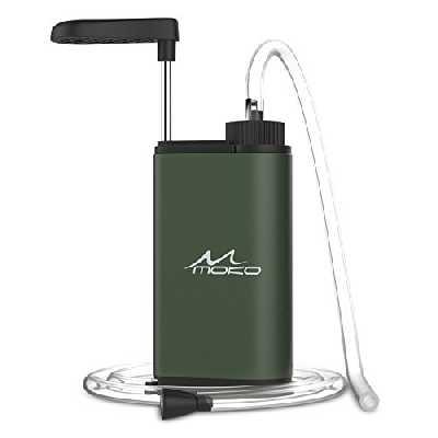MoKo Filtre à Eau Portable, Filtre d'eau Potable 3000 litres Urgence Personnel Purificateur d'eau pour Extérieur Randonnée Camping Voyage Sport en Plein Air Filtration Rapide sans BPA - Vert