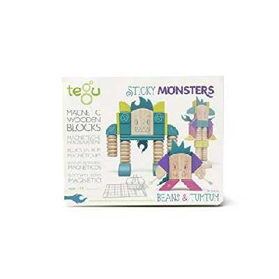 Tegu Jeu de Construction - Sticky Monsters BEANS & TUMTUM - Blocs de bois Magnétiques - 30 pièces