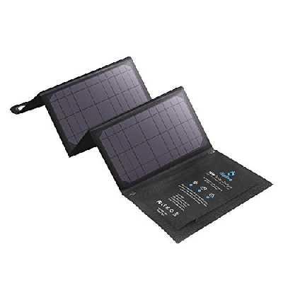 BigBlue 28W Chargeur Solaire Pliable avec 3 USB Ports Panneau Solaire Portable et Imperméable + 4 Crochets en Acier Compatible avec iPhone XS/ 8/7/6S, iPad, Samsung Galaxy