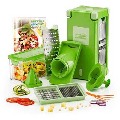 Genius Découpe-légumes pour Fruits et légumes, en Plastique, Plastique, Vert, 27 x 12.5 x 13 cm