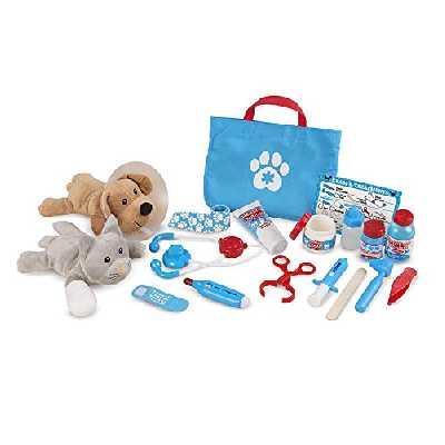 Melissa & Doug | Pet Vet| Vétérinaire | Ensemble de jeu | Examiner et traiter| 24 pièces | 2 peluches | 3+ | Pour garçon ou fille