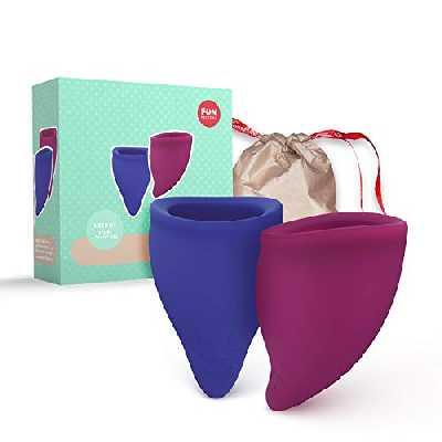 Fun Factory FUN CUP - Coupes menstruelles de forme ergonomique - Silicone Médical - Avec une pochette (2 Coupes - Size B)