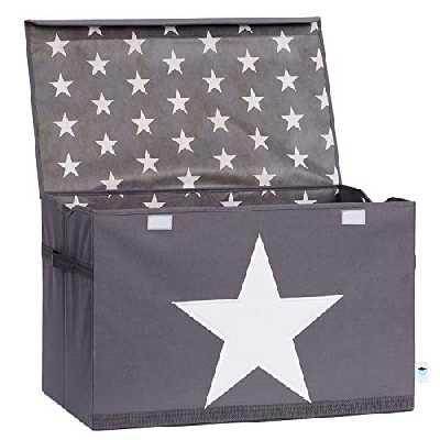 Store. It 670360Coffre à Jouets, Gris avec étoile, Polyester/MDF Blanc, 61x 37x 38cm