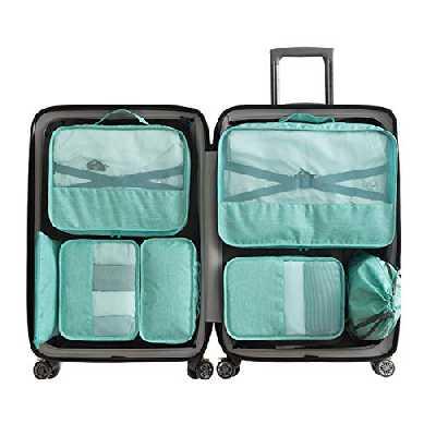 Organiseurs de Bagage Set 7 Cubes pour Emballage -3 Cubes pour Emballage + 2 enveloppes + 1 enveloppe pour sous-vêtements + 1 Sac pour Chaussures