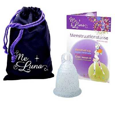 Me Luna Coupe menstruelle Classic, bague, bleu/paillettes, Taille M