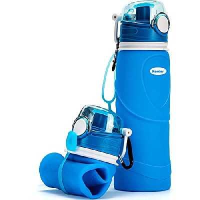 Kemier Bouteilles d'eau Pliables en Silicone de 750 ML, sans BPA, Approuvées par La FDA.Bouteilles d'eau Pliables Pouvant s'Enrouler pour Sports et Plein Air,étanches et à l'épreuve des Fuites(Bleu)