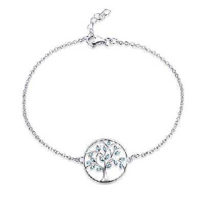 JO WISDOM Bracelet Arbre de la vie Argent 925 Femme avec AAA Oxyde de Zirconium Pierre de naissance de septembre Couleur Saphir