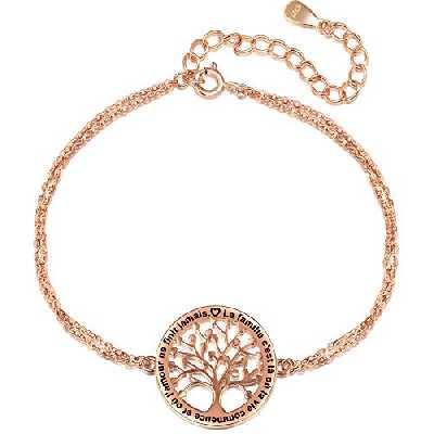 LOVORDS Bracelet Femme Gravé Argent 925/1000 Arbre de Vie Famille Cadeau Maman Fille Grand-Mère