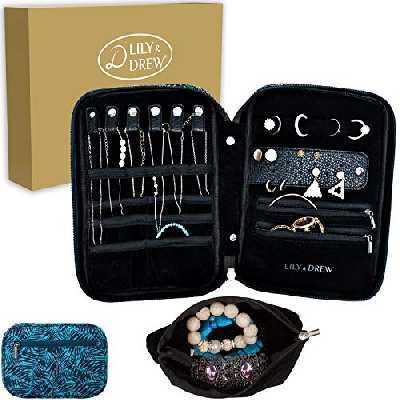Lily & Drew Bijoux de voyage étui de transport de rangement à bijoux Organiseur avec poche amovible, V1b Leaf Blue, Jewelry Only