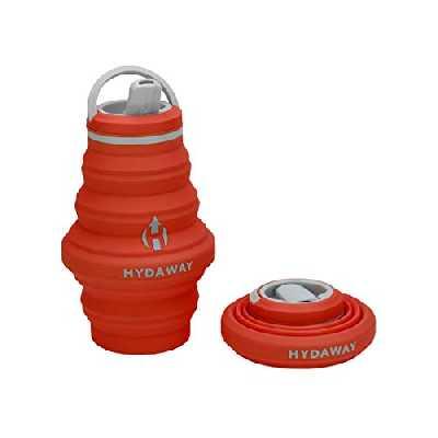 HYDAWAY - Bouteille d'eau pliable, couvercle à rabat, facile à emporter, pratique lors de vos déplacements, silicone de qualité alimentaire, 500 ml