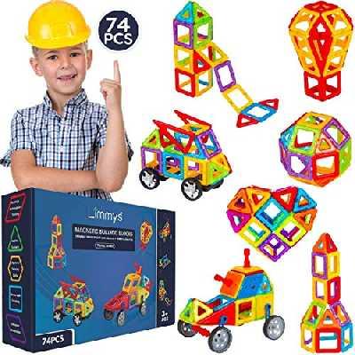 Limmys Jeu de Construction magnétique – Blocs aimantés pour garçons et Filles – Jouet éducatif STEM – Contient 74 Blocs magnétiques et Un livret d'idées de Construction