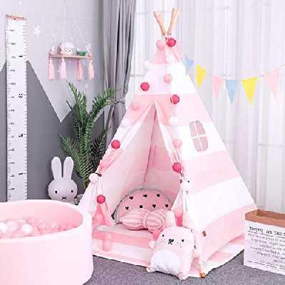 AllRight Tipi Enfant Intérieur Jeu Tente Maison Jardin pour Enfants Fille Rose Rayure