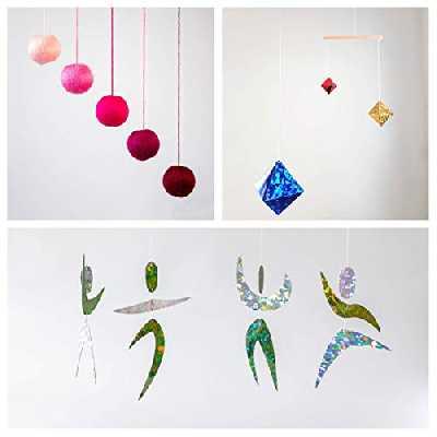 Set of 3 Montessori inspired mobiles - Pink Gobbi, Dancers, Octahedron. Montessori mobile. Baby mobile. Hanging mobile. Crib toy