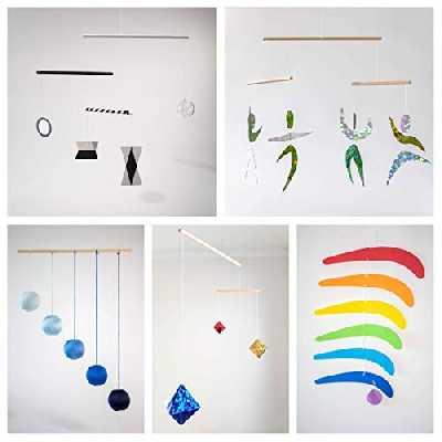 Set of 5 Montessori inspired mobiles - Black and White mobile, Blue Gobbi, Dancers, Octahedron, Rainbow. Montessori mobile. Baby mobile. Hanging mobile. Crib toy