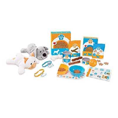 Melissa & Doug | Coffret de jeux et d'aliments pour les animaux | Ensemble de jeu |Chat et Chien Peluche + Accessoires | 3+ | Pour garçon ou fille