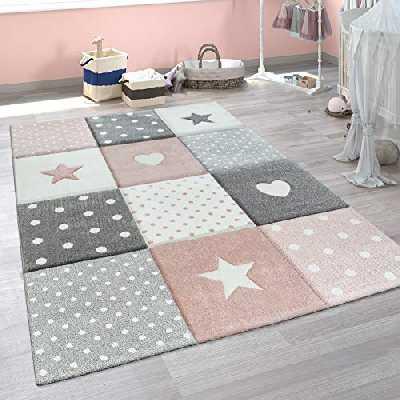 Paco Home Tapis Enfant Chambre Enfant Pois Coeurs Étoiles Pastel Tailles Et Coloris Variés, Dimension:80x150 cm, Couleur:Rose