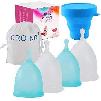 CROING 4 Coupes Menstruelles avec 1 Tasse Stérilisation- 2 Pièces de Petite Tailleet 2 Pièces de Grande Taille