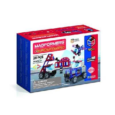 Magformers Amazing Police and Rescue Set - Jeu de Construction magnétique pour Enfant - Jeu éducatif constitué de Formes Multicolores aimantées avec Roues - 26 pcs - à partir de 3 Ans