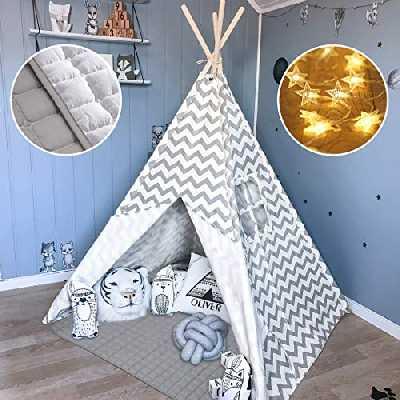 Tipi Enfant avec Tapis rembourré & Lumières- Grande Maison de Jeu Pliable Solides intérieure extérieure- 100% Toile en Coton Tente de Jeu pour Enfants (Gris Chevron)
