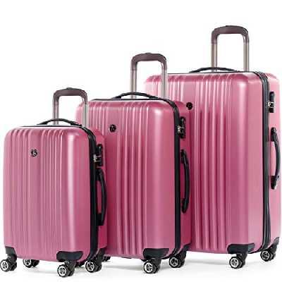FERGÉ Set 3 valises Voyage Rigide Extensible - Toulouse Ensemble de Bagage Trolley 4 roulettes pivotantes Pink