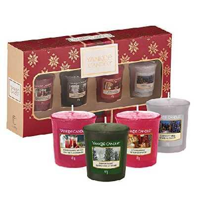 Coffret cadeau YankeeCandle comportant 4bougies votives parfumées, collection AlpineChristmas, emballage festif