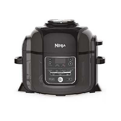 Ninja Foodi [OP300EU] Autocuiseur et Multicuiseur, Tendercrisp, Friteuse à Air, Mijoteuse, 6 L, Noir et Gris (touches et commandes en anglais)