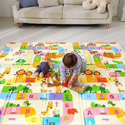 Bammax Tapis de Jeu pour Bébé, Tapis Pliable Imperméable Non Toxique pour Enfant Extra Grand, 197 x 177 x 1,5 cm Tapis Épaissie avec l'Image du Labyrinthe Mignons