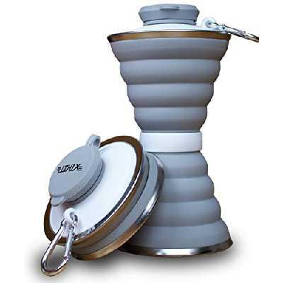 Gourde pliable 500 ml en silicone sans BPA pour les voyages, le camping, la randonnée et le sport avec mousqueton, gris, 19cm x 9,5cm; 4,5cm x 9,5cm (eingeklappt)