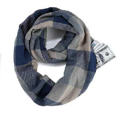 JFAN Écharpe Infinity avec Poche Zippée Cachée Écharpe Douces Légère Unisexe Écharpe Châle Automne Hiver Créatif,Bleu-gris,Taille unique