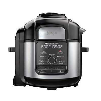 Ninja Foodi MAX [OP500EU] Autocuiseur 9-en-1, Air Fry, TenderCrisp, Cuisson sous pression, lente, à la vapeur, 7,5 L, 1 760 W, Noir (touches et commandes du produit en anglais)