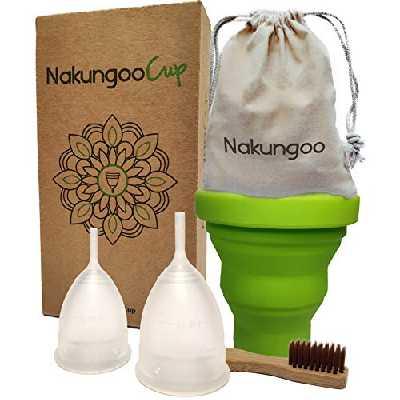 NakungooCup Kit Coupes Menstruelles Certifiées Bio 2 Cup Taille S & L Stérilisateur en Silicone Lavable Dure 12 heures Capacité 30ml Coupe Idéale pour les Débutants