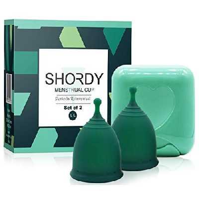 Shordy Lot de 2 coupe Cup Menstruelle, avec boîte, jusqu'à 12 heures de confort, produit d'hygiène féminine, alternative au tampon (grand)