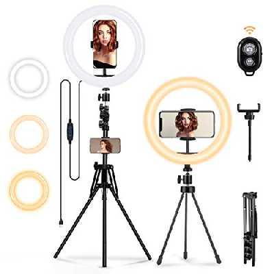 Anneau Lumiere, MOHOO Ring Light avec 2 Trépieds 64''/7.6'' et 2 Support LED Lampe Annulaire Selfie 3 Mode d'éclairage 10 Niveaux de Luminosité pour Téléphone/Tiktok/Smartphone/Photo/Maquillage/vidéo