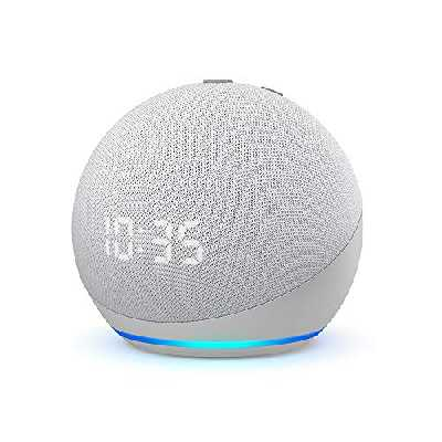 Echo Dot (4e génération), Enceinte connectée avec horloge et Alexa, Blanc