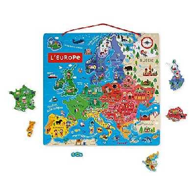 Janod - Carte d'Europe Magnétique en Bois 40 Pièces - Puzzle Éducatif pour Découvrir la Géographie, à Accrocher au Mur - Illustrations Poétiques - De 7 à 12 Ans, J05476