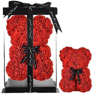 ours en rose - Cadeau pour maman et femme, pour elle ou adolescente Cadeau de mère Ours en peluche ourson rose Saint Valentin, anniversaire de mariage - nounours en rose ours rose - Avec boîte (rouge)