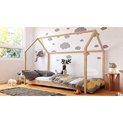Lit Maison Montessori 90x200 80x180 80x160 - Lit Cabane pour les enfants - Pour filles et garçons - Bois de pin naturel - Pin - 160x80