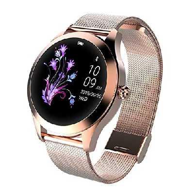LUNIQUESHOP ROUND Smartwatch, Montre Intelligente Homme Femme avec Fréquence Cardiaque, Bracelet connecté, Podometre, Tactile, écran Oled, suivi de Performance, Etanche, Android, iOS, Or