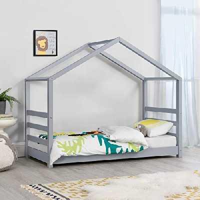 [en.casa] Lit d'enfant Design Maison Lit Cabane Pin Contreplaqué Solide Robuste 70 x 140 cm Gris Mat Laqué