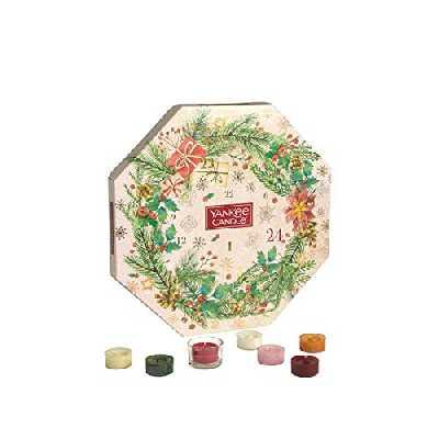 Yankee Candle Couronne calendrier de l'Avent | Coffret cadeau de bougies parfumées de Noël | 24 bougies chauffe-plat et 1 photophore | Collection Magical Christmas Morning