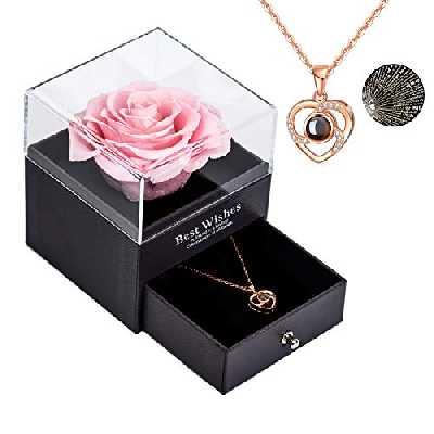 Yamonic Rose Eternelle avec Love You Collier boîte à Bijoux, Rose éternelle Real Forever Rose pour la Saint-Valentin fête des mères Anniversaire Cadeaux de Mariage Romantique pour Elle - Rose Rose